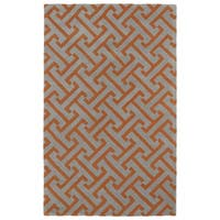 Hand-tufted Cosmopolitan Orange/ Grey Wool Rug - 8' x 11'