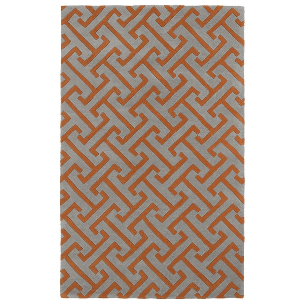 Hand-tufted Cosmopolitan Orange/ Grey Wool Rug - 9'6 x 13'