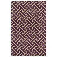 Hand-tufted Cosmopolitan Plum/ Beige Wool Rug - 8' x 11'