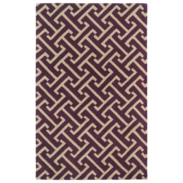 Hand-tufted Cosmopolitan Plum/ Beige Wool Rug - 9'6 x 13'