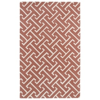 Hand-tufted Cosmopolitan Pink/ Ivory Wool Rug (8' x 11') - 8' x 11'