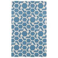 Hand-tufted Cosmopolitan Geo Blue/ Ivory Wool Rug - 9'6 x 13'