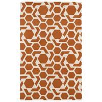 Hand-tufted Cosmopolitan Geo Orange/ Ivory Wool Rug - 8' x 11'