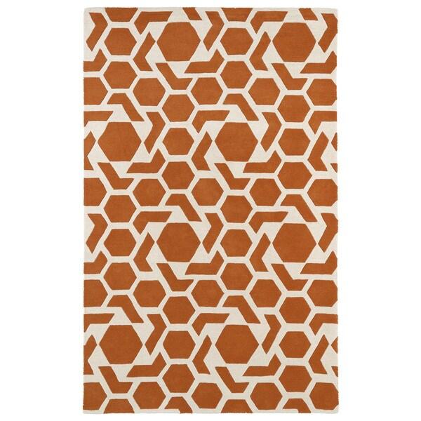 Hand-tufted Cosmopolitan Geo Orange/ Ivory Wool Rug - 9'6 x 13'