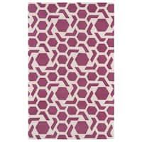 Hand-tufted Cosmopolitan Geo Pink/ Ivory Wool Rug - 8' x 11'