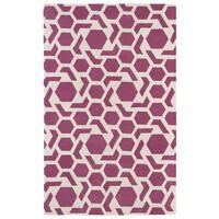Hand-tufted Cosmopolitan Geo Pink/ Ivory Wool Rug - 9'6 x 13'