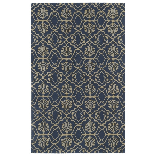 Hand-tufted Runway Denim/ Light Brown Wool Rug (8'x11') - 8' x 11'