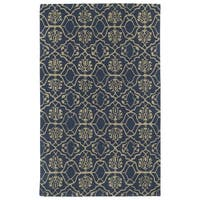 Hand-tufted Runway Denim/ Light Brown Wool Rug (8' x 11')
