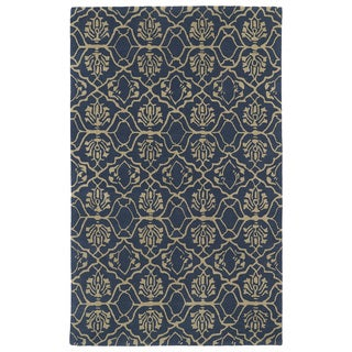 Hand-tufted Runway Denim/ Light Brown Wool Rug (9'6x13')