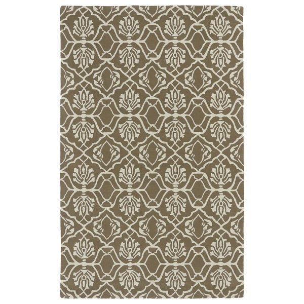 Hand-tufted Runway Light Brown/ Ivory Wool Rug - 9'6 x 13'