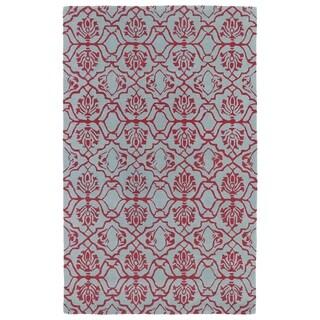 Hand-tufted Runway Pink/ Blue Wool Rug (8'x11') - 8' x 11'