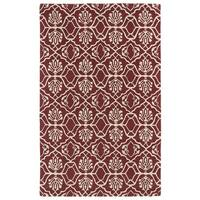 Hand-tufted Runway Berry/ Ivory Wool Rug - 8' x 11'