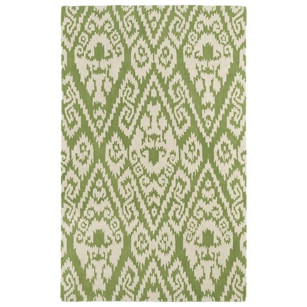 Hand-tufted Runway Green/ Ivory Ikat Wool Rug (9'6 x 13')