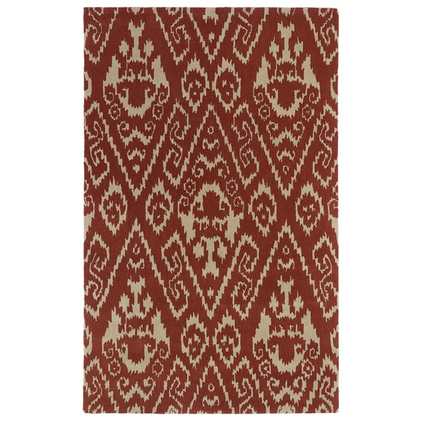 Hand-tufted Runway Red/ Light Brown Ikat Wool Rug - 9'6 x 13'