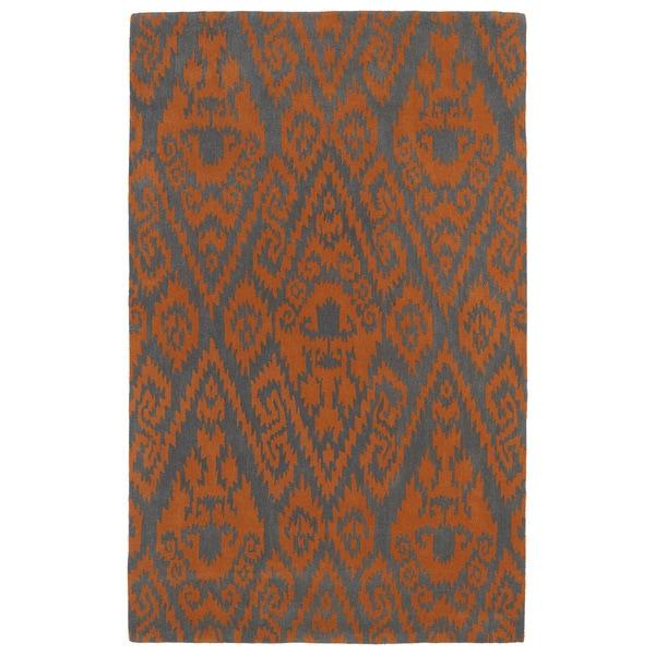 Hand-tufted Runway Orange/ Charcoal Ikat Wool Rug - 8' x 11'
