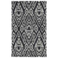 Hand-tufted Runway Charcoal/ Grey Ikat Wool Rug - 9'6 x 13'