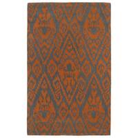 Hand-tufted Runway Orange/ Charcoal Ikat Wool Rug - 9'6 x 13'