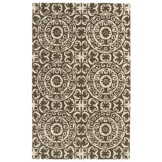 Hand-tufted Runway Brown/ Ivory Suzani Wool Rug (8' x 11')