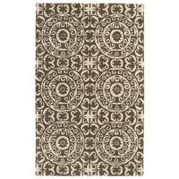 Hand-tufted Runway Brown/ Ivory Suzani Wool Rug - 8' x 11'