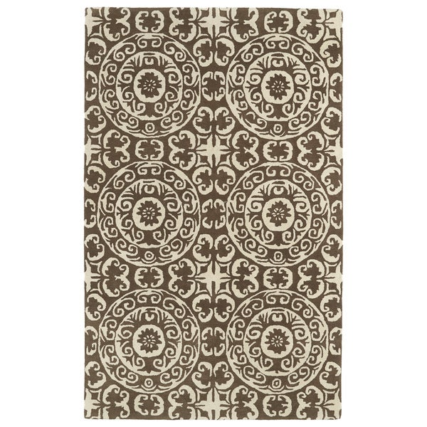 Hand-tufted Runway Brown/ Ivory Suzani Wool Rug (8' x 11')