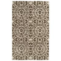 Hand-tufted Runway Brown/ Ivory Suzani Wool Rug - 9'6 x 13'