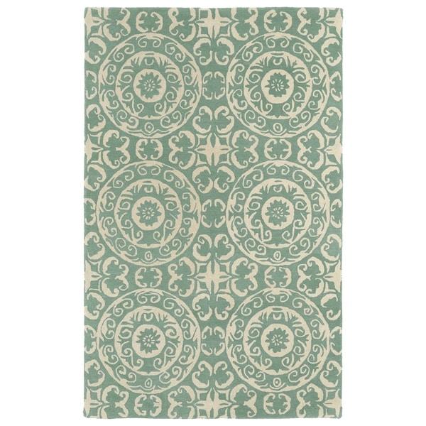 Hand-tufted Runway Mint/ Ivory Suzani Wool Rug - 8' x 11'
