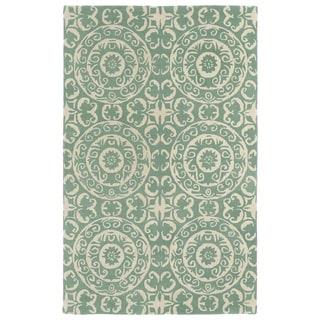 Hand-tufted Runway Mint/ Ivory Suzani Wool Rug (8'x11')