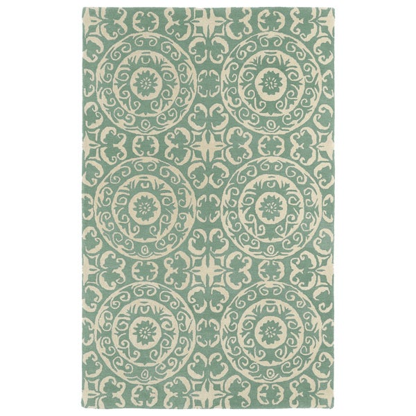 Hand-tufted Runway Mint/ Ivory Suzani Wool Rug - 9'6 x 13'