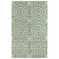 Hand-tufted Runway Mint/ Ivory Suzani Wool Rug (9'6x13')