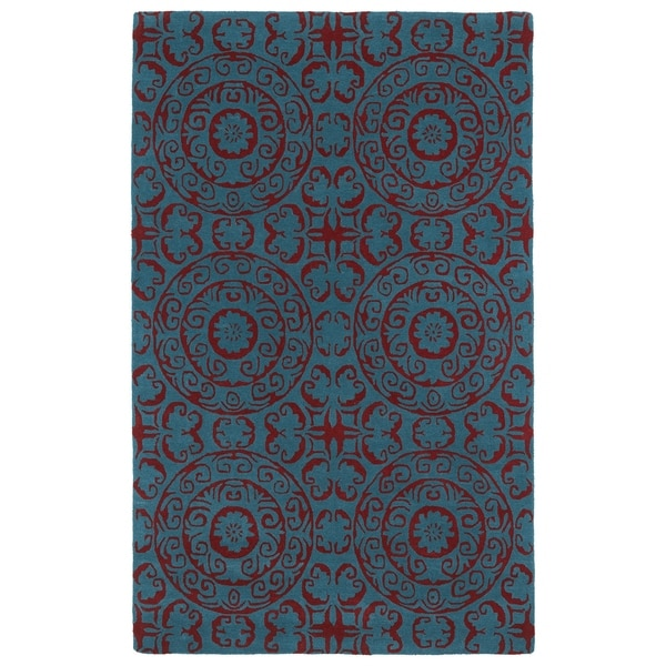 Hand-tufted Runway Peacock Blue/ Red Suzani Wool Rug - 8' x 11'