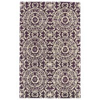 Hand-tufted Runway Purple/ Ivory Suzani Wool Rug - 9'6 x 13'