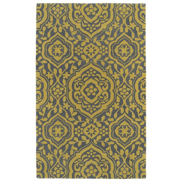 Hand-tufted Runway Grey/ Yellow Damask Wool Rug (9'6 x 13')