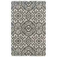 Hand-tufted Runway Charcoal/ Ivory Damask Wool Rug - 8' x 11'