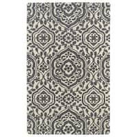 Hand-tufted Runway Charcoal/ Ivory Damask Wool Rug (8' x 11')