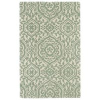 Hand-tufted Runway Mint/ Ivory Damask Wool Rug - 8' x 11'