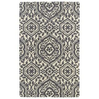 Hand-tufted Runway Charcoal/ Ivory Damask Wool Rug (9'6 x 13')
