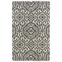 Hand-tufted Runway Charcoal/ Ivory Damask Wool Rug - 9'6 x 13'