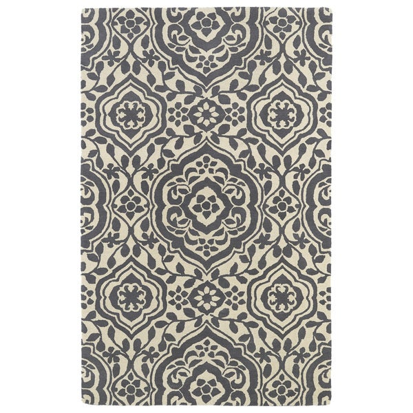 Hand-tufted Runway Charcoal/ Ivory Damask Wool Rug - 9'6 x 13'