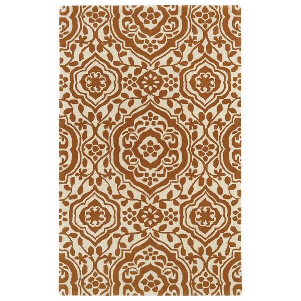 Hand-tufted Runway Pumpkin/ Ivory Damask Wool Rug (9'6 x 13') - 9'6 x 13'