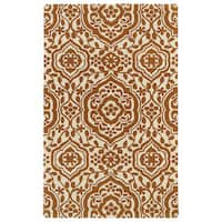 Hand-tufted Runway Pumpkin/ Ivory Damask Wool Rug - 9'6 x 13'