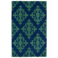 Hand-tufted Runway Navy/ Emerald Damask Wool Rug (9'6 x 13') - 9'6 x 13'