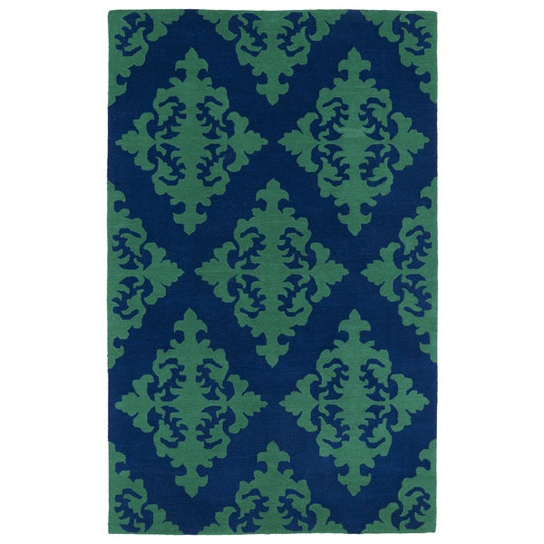 Hand-tufted Runway Navy/ Emerald Damask Wool Rug - 9'6 x 13'