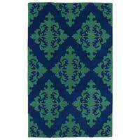 Hand-tufted Runway Navy/ Emerald Damask Wool Rug (8' x 11') - 8' x 11'