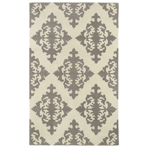 Hand-tufted Runway Light Brown/ Ivory Damask Wool Rug - 8' x 11'