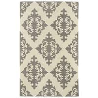 Hand-tufted Runway Light Brown/ Ivory Damask Wool Rug - 9'6 x 13'