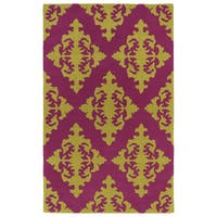 Hand-tufted Runway Pink/ Gold Damask Wool Rug (9'6 x 13') - 9'6 x 13'