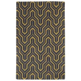 Hand-tufted Cosmopolitan Gold/ Charcoal Wool Rug (2' x 3') - 2' x 3'