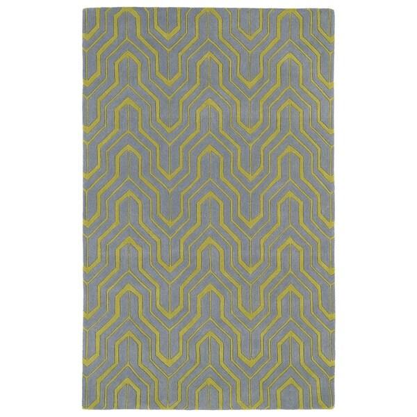 Hand-tufted Cosmopolitan Grey/ Wasabi Wool Rug (2' x 3')