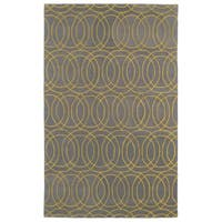 Hand-tufted Cosmopolitan Circles Yellow/ Light Brown Wool Rug - 2' x 3'