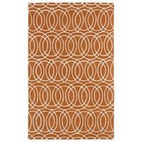 Hand-tufted Cosmopolitan Circles Orange/ Ivory Wool Rug - 2' x 3'